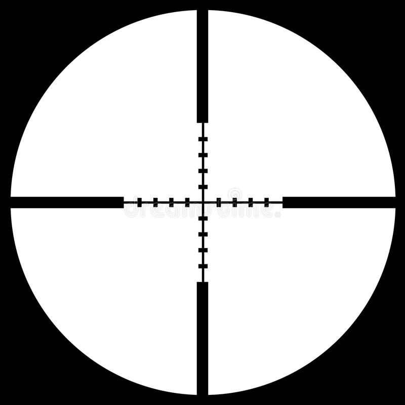 Crosshair sight. Put your text or picture behind the crosshair, crosshair or reticle, used for precise alignment or for aiming with firearms stock illustration