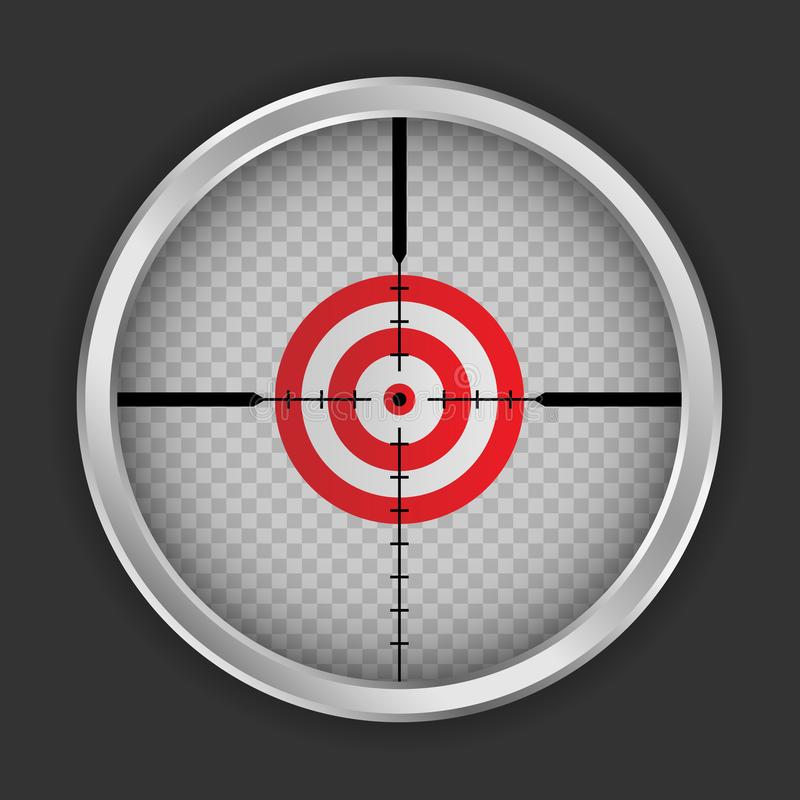 Crosshair target icon, realistic style. Crosshair target icon. Realistic illustration of crosshair target vector icon for web design stock illustration