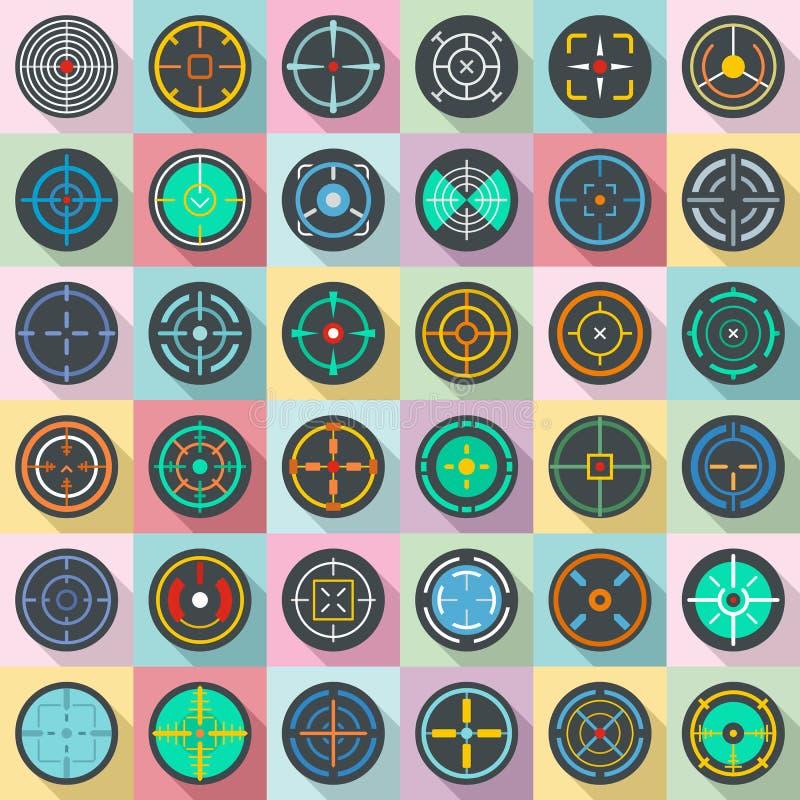 Crosshair target scope sight icons set, flat style. Crosshair target scope sight icons set. Flat illustration of 36 crosshair target scope sight vector icons for stock illustration