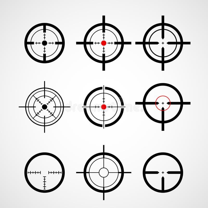 Crosshair (vapensikt), målsymboler vektor illustrationer