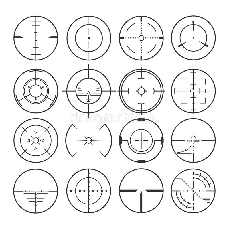 Crosshair vastgestelde pictogrammen vector illustratie