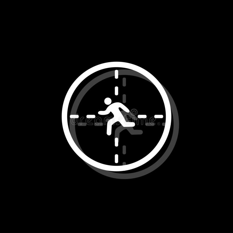 Crosshair icon flat. Crosshair. White flat simple icon with shadow stock illustration