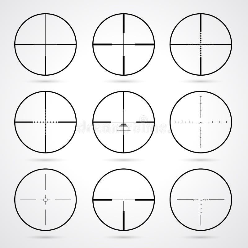 Crosshairs ajustados ilustração do vetor