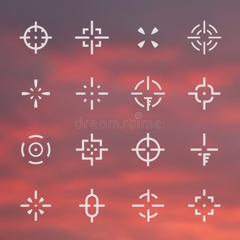 Crosshairs ajustados, vistas diferentes ilustração do vetor