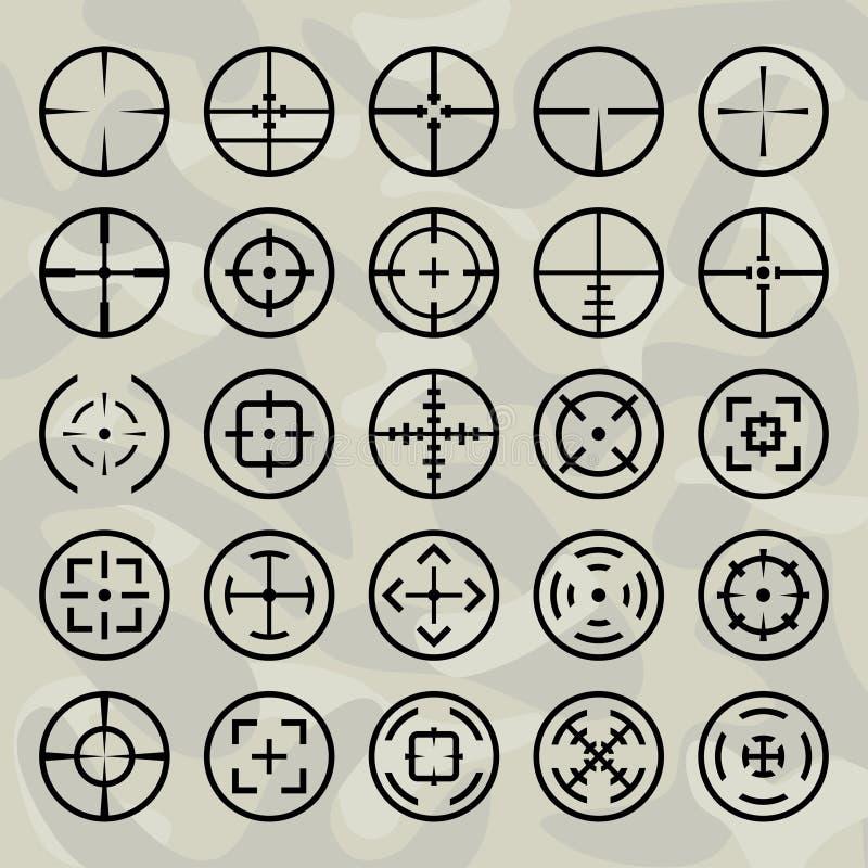 Crosshairs do vetor ajustados ilustração stock