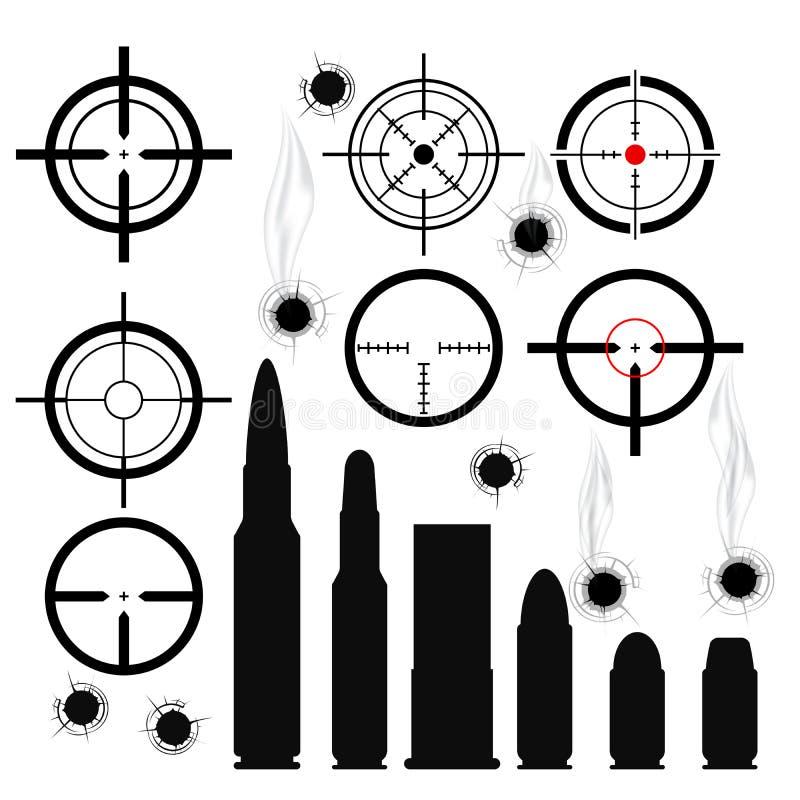 Crosshairs (vistas de arma), cartuchos e buracos de bala ilustração royalty free