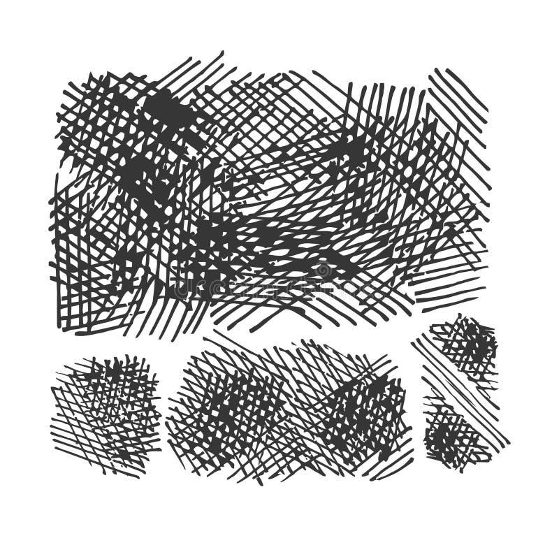Crosshatching texturuppsättning för Grunge.  eps8 vektor illustrationer