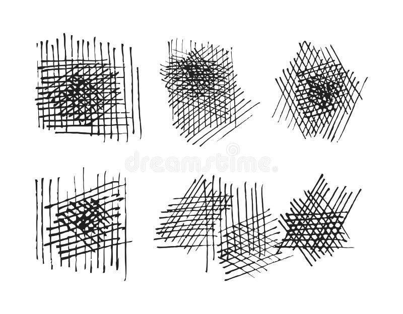 Crosshatching texturuppsättning för Grunge. vektor eps8 vektor illustrationer