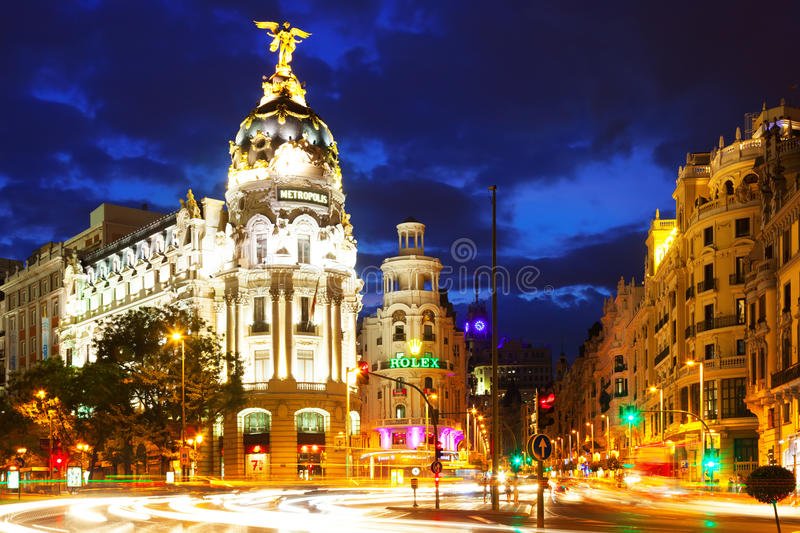 Crossing Calle de Alcala and Gran Via in night . Madrid, Spain royalty free stock image