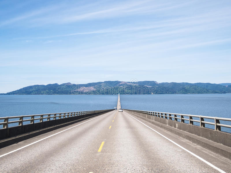 Crossing the Columbia River. Driving the Astoria-Megler Bridge, crossing the Columbia River royalty free stock photography