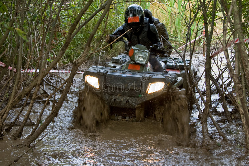 Crossing the dirt river stock photography