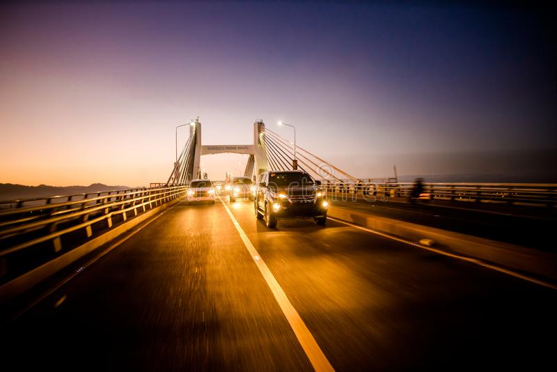 Crossing Mactan Bridge, Cebu, Philippines at twilight.  royalty free stock images