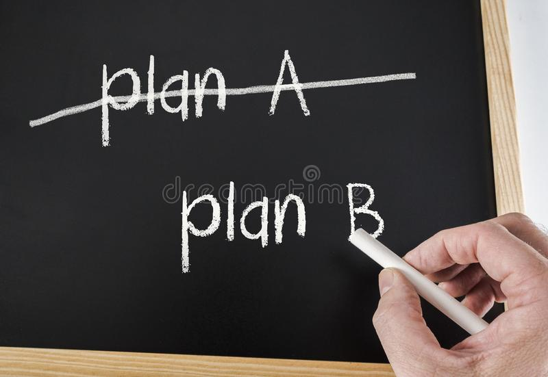 Crossing out Plan A and writing Plan B royalty free stock image