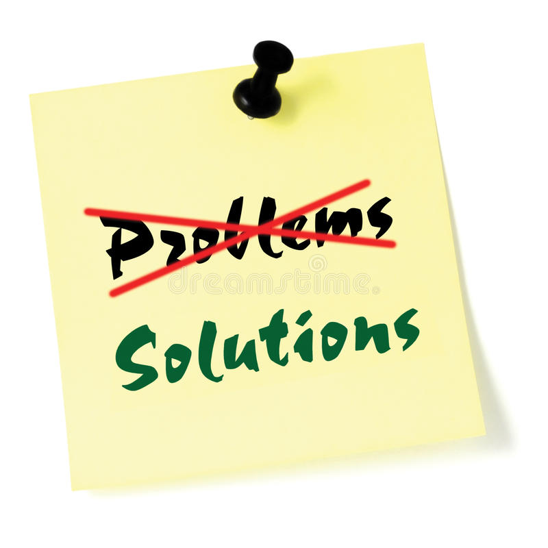Crossing out problems, writing solutions sticky note, yellow isolated sticker, green text, black thumbtack pushpin problem solving stock photos