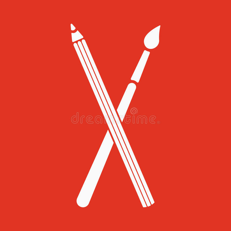 The crossing pencil with a brush icon. Painting and drawing symbol. Flat royalty free illustration