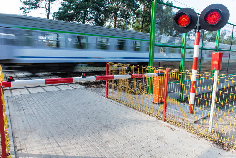 Crossing the railway track royalty free stock photo