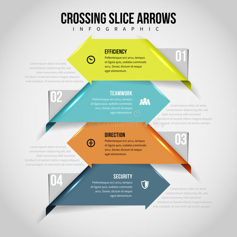 Crossing Slice Arrows Infographic. Vector illustration of crossing slice arrows infographic design element royalty free illustration
