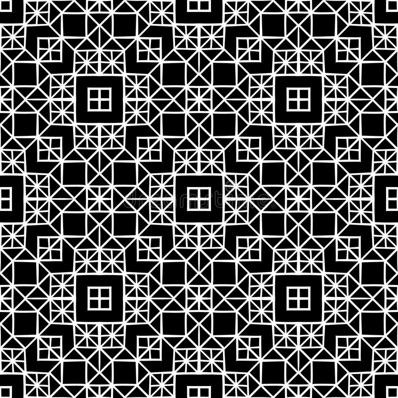 Crossing square window seamless pattern background in black and white. Seamless background pattern for use in fabrics , web backgrounds , art , styling , prints royalty free illustration