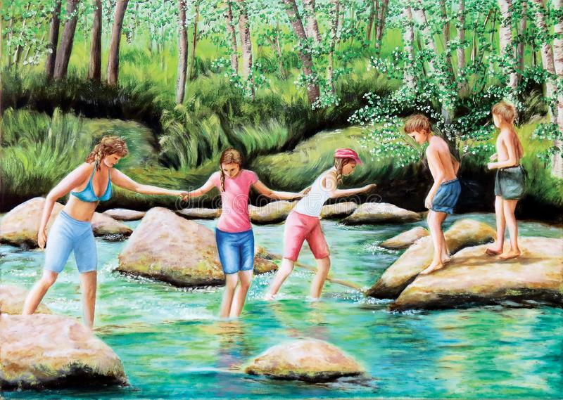 Crossing a stormy river. Forest, taiga, Siberia. Oil on canvas. Beautiful picture. Lovely background. Children cross the river. Stones royalty free illustration