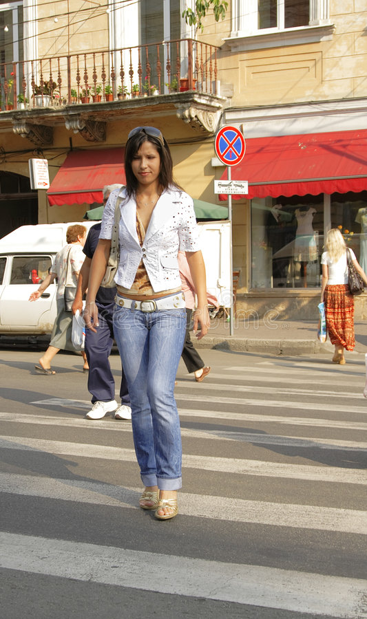 Download Crossing the street stock photo. Image of model, beautiful - 2638576