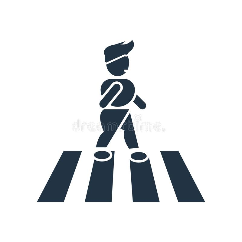 crossing street icon vector isolated on white background, crossing street sign royalty free illustration