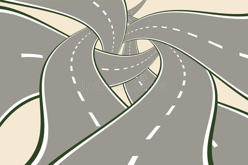 Crossing Tangled Roads. Tangled Roads Modern Choice Concept vector illustration royalty free illustration