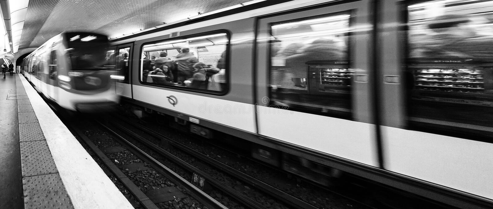 Crossing of trains in a Paris metro station. Paris, France - January 5, 2018: Crossing of trains in a Paris metro station stock photo