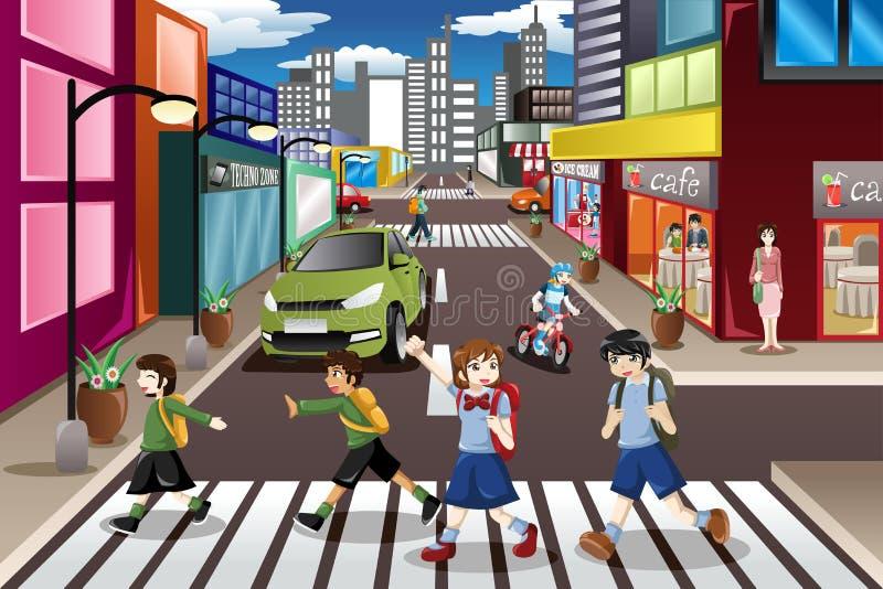 crossingen lurar gatan vektor illustrationer