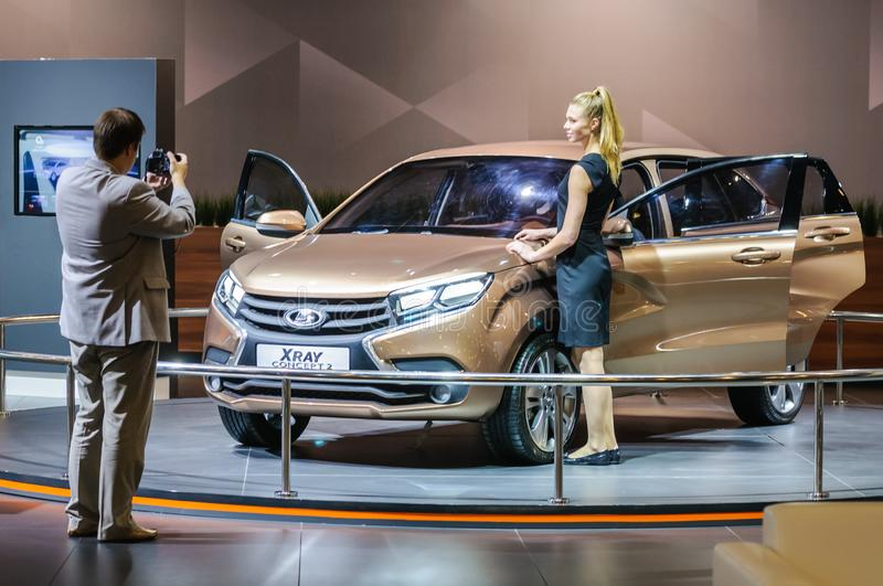 Crossover Lada XRAY Concept 2. Moscow, Russia - August 27, 2015. Crocus Expo. International exhibition of SUVs, crossovers and off-road vehicles `Moscow Off-Road stock photography