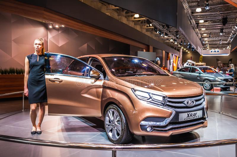 Crossover Lada XRAY Concept 2. Moscow, Russia - August 27, 2015. Crocus Expo. International exhibition of SUVs, crossovers and off-road vehicles `Moscow Off-Road royalty free stock photo