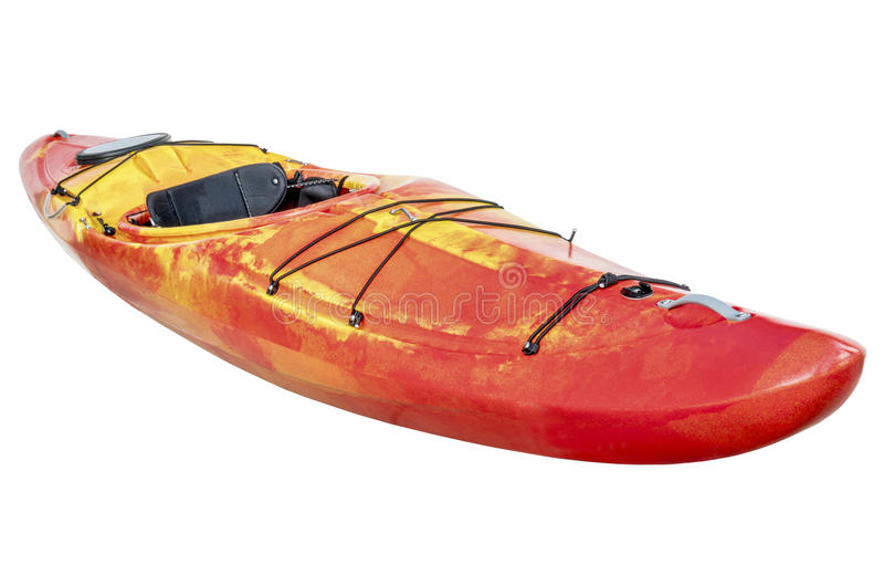 Crossover whitewater kayak isolated. Crossover kayak (whitewater and river running kayak) isolated with a clipping path royalty free stock photography