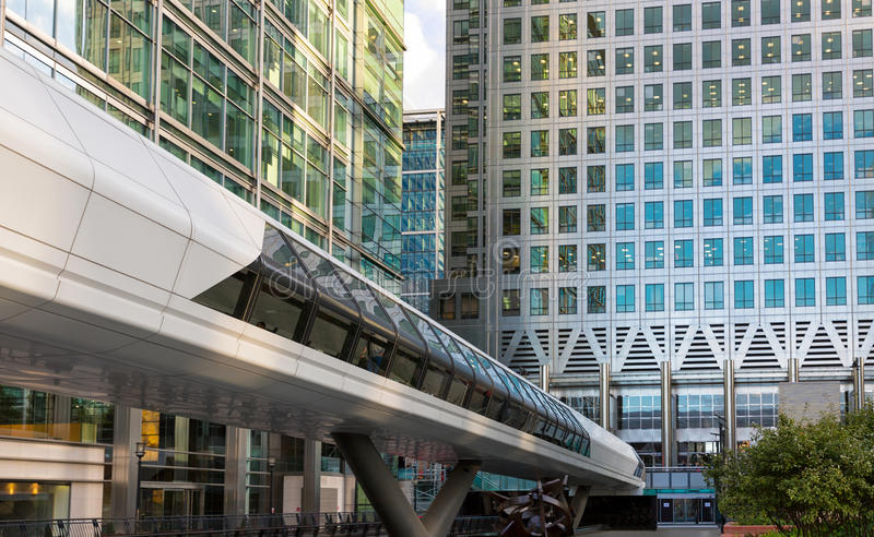 Crossrail bridge in Canary Wharf, London. View to the Crossrail connecting bridge from the office buildings in Canary Wharf, London stock photography