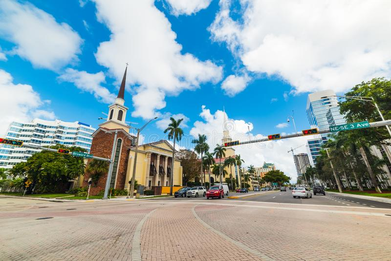 Crossroad in beautiful downtown Fort Lauderdale. Southern Florida, USA stock image
