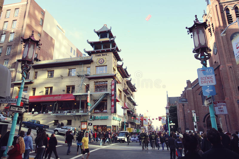 Crossroad in China Town in San Francisco. California, USA royalty free stock photo