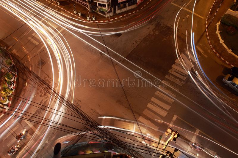 Crossroad. Crosswalk longexposure traffic road stock photography