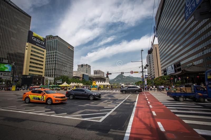Crossroad with lots of cars near Gwanghwamun square in Seoul. royalty free stock photos
