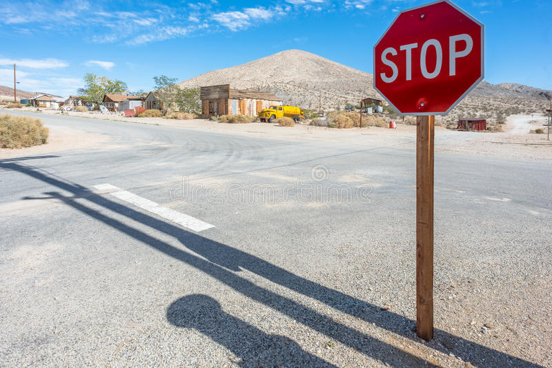 Crossroad and Stop road sign stock photos