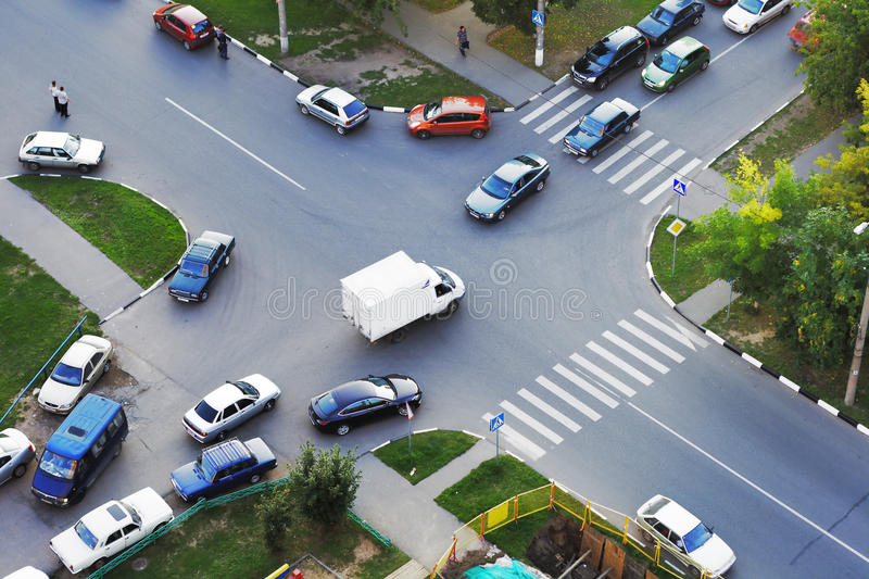 Crossroad traffic stock images