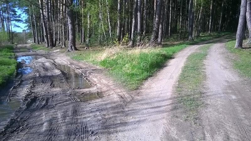 Crossroad and two different paths stock image