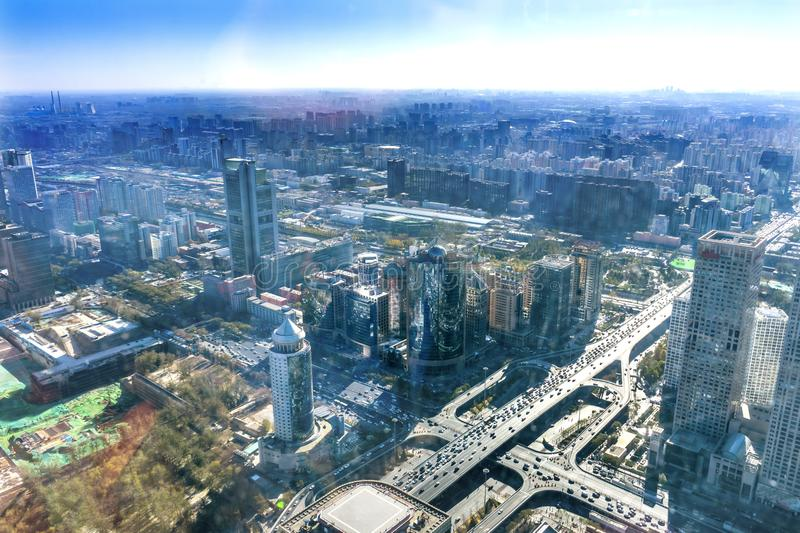 Crossroads Changan Street 3rd Ring Rd Guomao Beijing China. Crossroads Changan Street 3rd Ring Rd Guomao District Yingtai Cityscape Office Towers Apartments royalty free stock photos