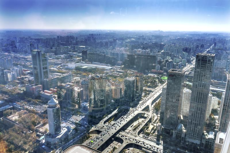 Crossroads Changan Street 3rd Ring Rd Guomao Beijing China. Crossroads Changan Street 3rd Ring Rd Guomao District Yingtai Cityscape Office Towers Apartments stock image