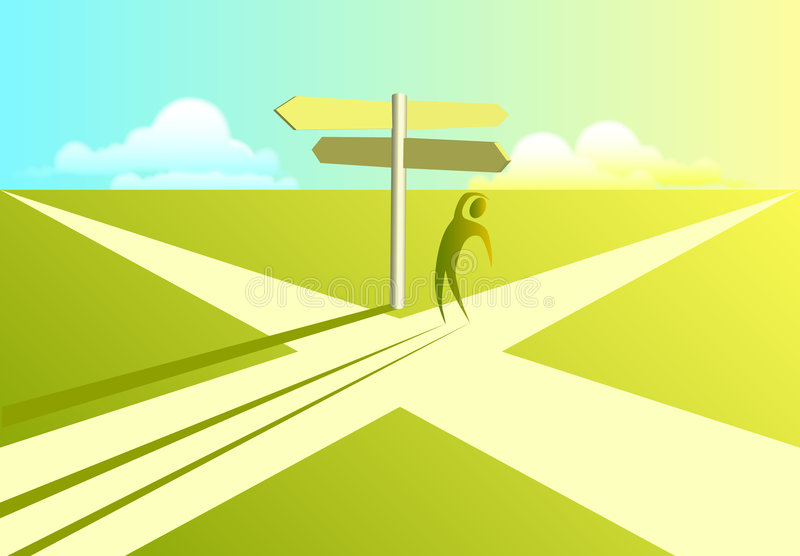 Crossroads of Decision stock illustration