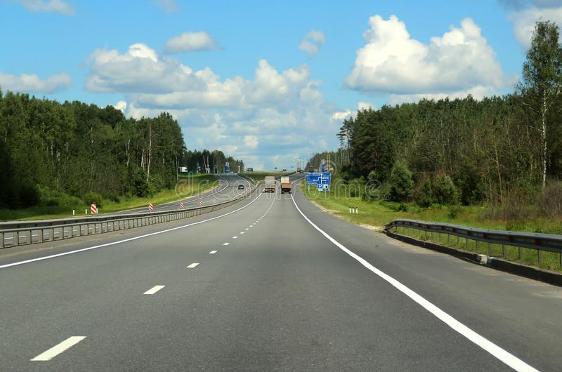 Crossroads with directions to Michurino, Nizhny Novgorod and Smykovo. Journey through the Gorky Highway. Federal highway M-7. View from the car window. Moscow royalty free stock photos