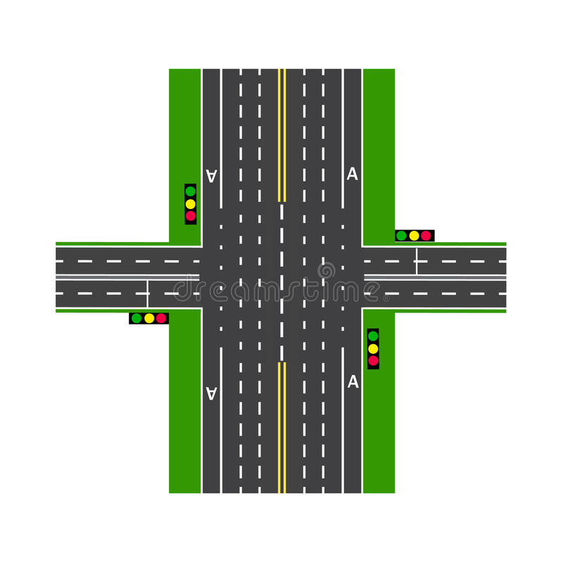 Crossroads. With the help of traffic lights. Road interchange. Lawns. View from above. illustration royalty free illustration