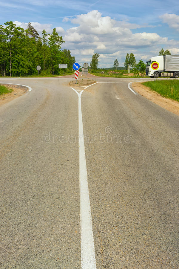 Crossroads on the highway in summer stock image