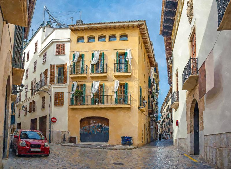 Crossroads of narrow streets in the historic centre of Palma de Mallorca,  watercolor style royalty free illustration