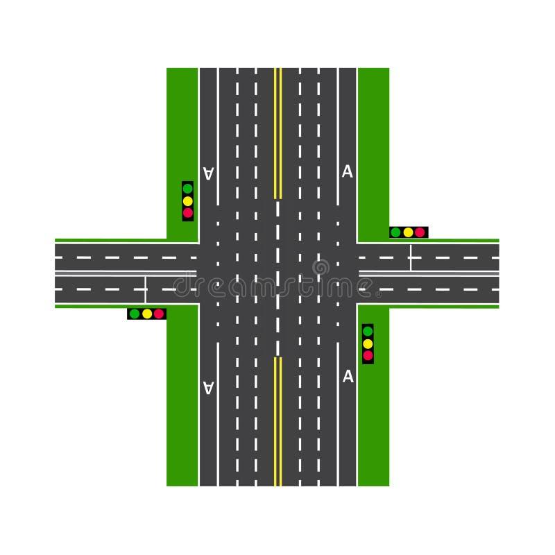 crossroads Per mezzo dei semafori Scambio della strada prati Vista da sopra Illustrazione royalty illustrazione gratis