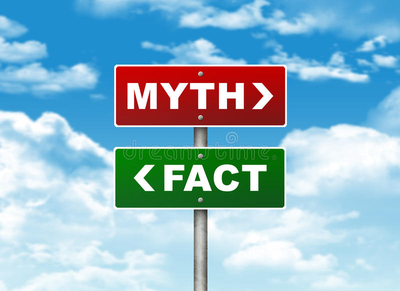 Crossroads road sign. Pointer to the right MYTH, but FACT left. Choice concept vector illustration