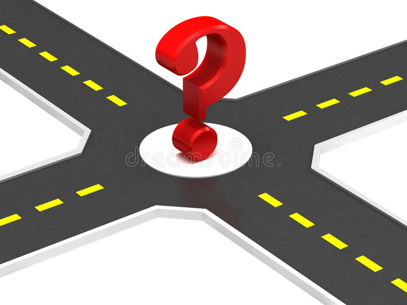 Crossroads of roads. With a question mark royalty free illustration