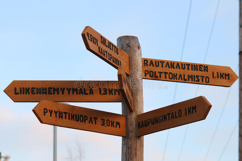 Crossroads Sign in Akaa, Finland royalty free stock image